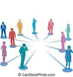 网絡, 事務, 空間, 人們, 連接, 連接, 模仿