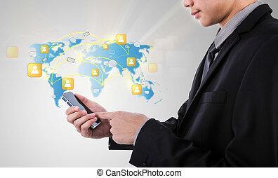 网絡, 事務, 給予, 机動的交流, 現代, 電話, 藏品, 社會, 技術, 人