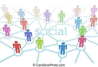 网絡, 人們顏色, 媒介, 連接, 社會