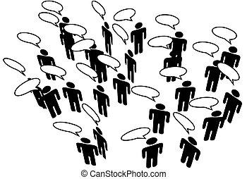 网絡, 人們, 媒介, 通訊, 演說, 連接, 社會
