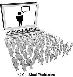 网絡, 人們, 觀看, 觀眾, 電腦, 社會, 監控