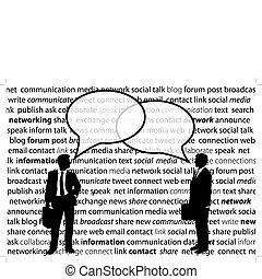 网絡, 商業界人士, 分享, 社會, 氣泡, 談話