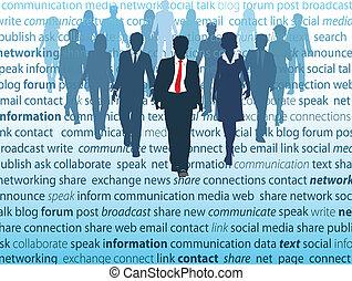 网絡, 商業界人士, 媒介, 社會, 概念