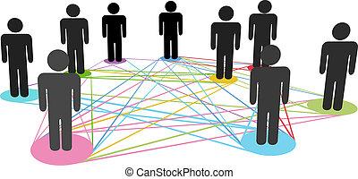 网絡, 商業界人士, 顏色, 連接, 社會