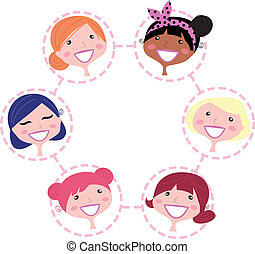 网絡, 婦女, 被隔离, 組, 多文化, 白色