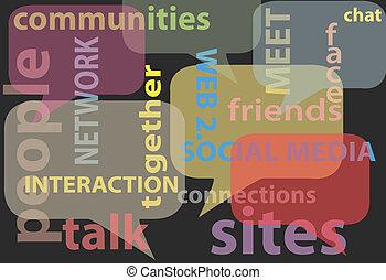 网絡, 媒介, 詞, 社會, 氣泡, 談話