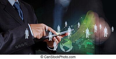 网絡, 工作, 給予, 現代, 電腦, 商人, 新, 社會