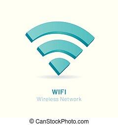 网絡, 插圖, 符號, 無線, 矢量, wi fi, 3d