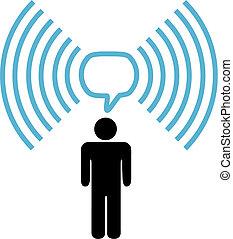 网絡, 符號, wifi, 無線, 談話, 人