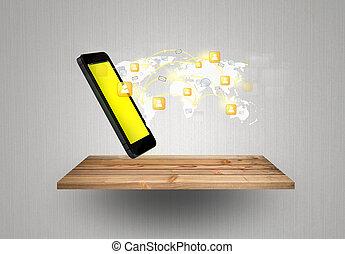 网絡, 給予, 机動的交流, 現代, 電話, 木頭, 架子, 技術, 社會