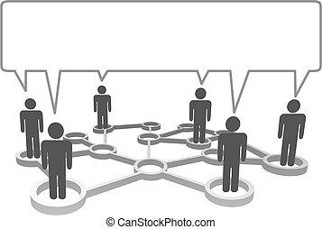 网絡, bubble., 符號, 人們, 通訊, 連線, 演說, 節點