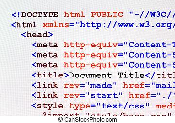 网, 代碼, html, 首頁, 看法