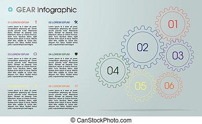网, 使用, 齒輪, 鮮艷, 是, 現代, 灰色, 工作流程, layout., 背景。, 矢量, 小冊子, 樣板, infographics, 表現形式, 選擇, 設計, 罐頭