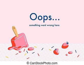 网, 背景, 草莓, 熔化, 矢量, 冰, 頁, 錯誤, 奶油