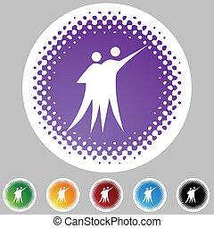 网, 跳舞, 按鈕, 被隔离, 背景。, 夫婦