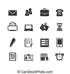 网, 金融, 辦公室, 商務圖標, 工作, 工作場所