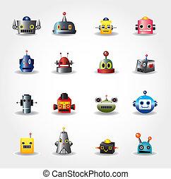 网, 集合, -vector, 機器人, 臉, 卡通, 圖象
