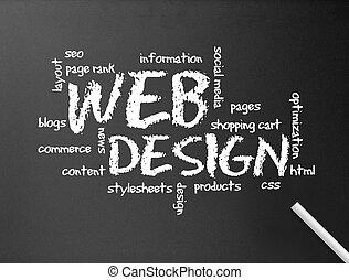 网, 黑板, -, 設計