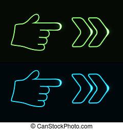 网, 10, 氖, -, eps, 手, 箭, 矢量, 指針