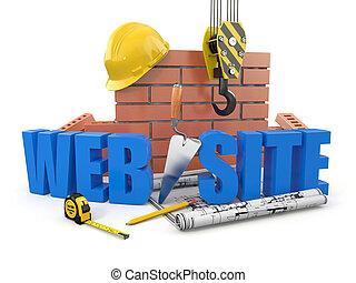 网, tools., 牆, 站點, 起重機, 建筑物。, 3d