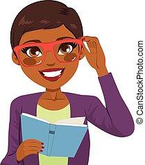 美國人, 書, 閱讀, 女孩, african