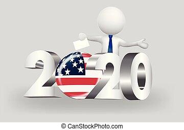 美國, 人們, -, 小, 2020, 投票, 標識語, 3d