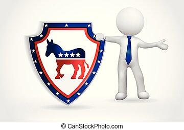 美國, 人們, 符號, -, 小, 民主, 3d