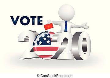 美國, 人們, -2020, 小, 矢量, 投票, 標識語, 3d