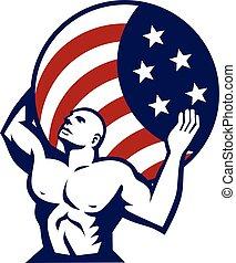 美國, 全球, 旗, 運載, retro, 地圖集