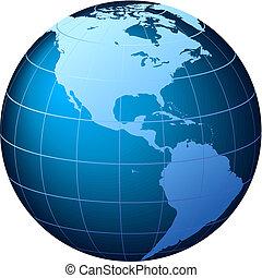 美國, 全球, -, 矢量, 世界看法