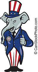 美國, 向上, 旗, 拇指, 大象, 共和, 吉祥人