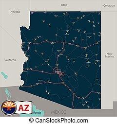 美國, 地圖, 狀態, 亞利桑那