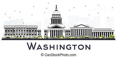 美國, 被隔离, dc, 華盛頓, white., 地平線, 灰色, 城市, 建筑物