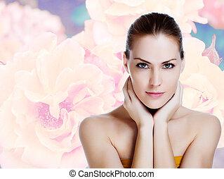 美麗的婦女, 健康, 年輕, 皮膚, 肖像
