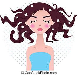 美麗的婦女, 加點, 被隔离, 頭髮, 背景, 礦泉