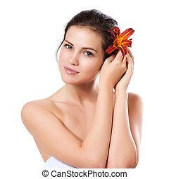 美麗的婦女, 在上方, 年輕, 臉, skincare, 花, 背景, 新鮮, 白色
