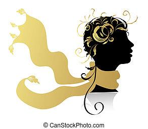 美麗的婦女, 頭, 黑色半面畫像