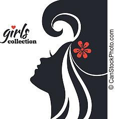 美麗的婦女, 黑色半面畫像, 女孩, 彙整, flowers.