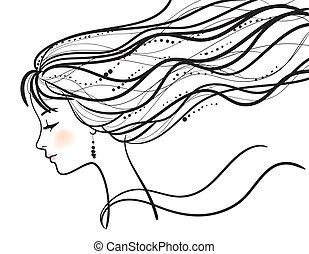 美麗的婦女, 黑色半面畫像, 臉