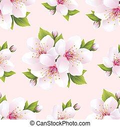 美麗, 圖案, 花, seamless, sakura