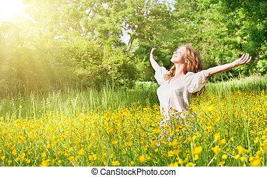 美麗, 夏天, 女孩, 享用, 太陽