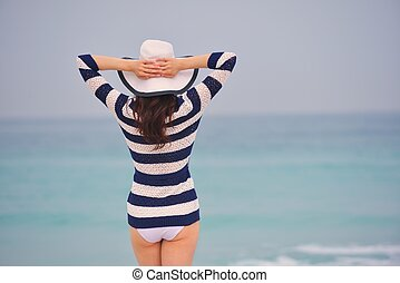 美麗, 夏天, 婦女, 假期, 享用, 愉快