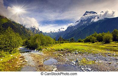 美麗, 夏天, 風景, 高加索, 山