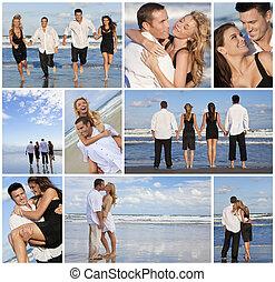 美麗, 夫婦, montage, 年輕, 荒蕪, 海灘