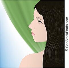 美麗, 女孩, 黑發淺黑膚色女子