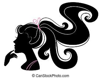 美麗, 女孩, 黑色半面畫像