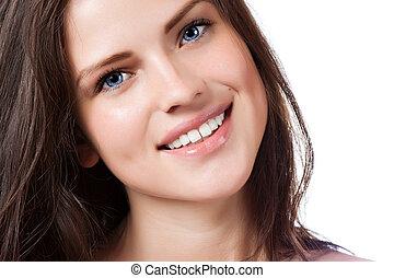 美麗, 完美, 婦女, 年輕, 微笑, 肖像