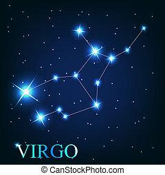 美麗, 星, 天空, 宇宙, 簽署, 處女座, 明亮, 矢量, 背景, 黃道帶