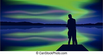 美麗, 極地, 喜愛, 湖, 夫婦, 光