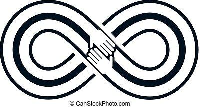 美麗, 永恆, 友誼, 永遠, 二, 符號, 矢量, 結合, 人類, 圈, 標識語, 永恒, 朋友, hands.